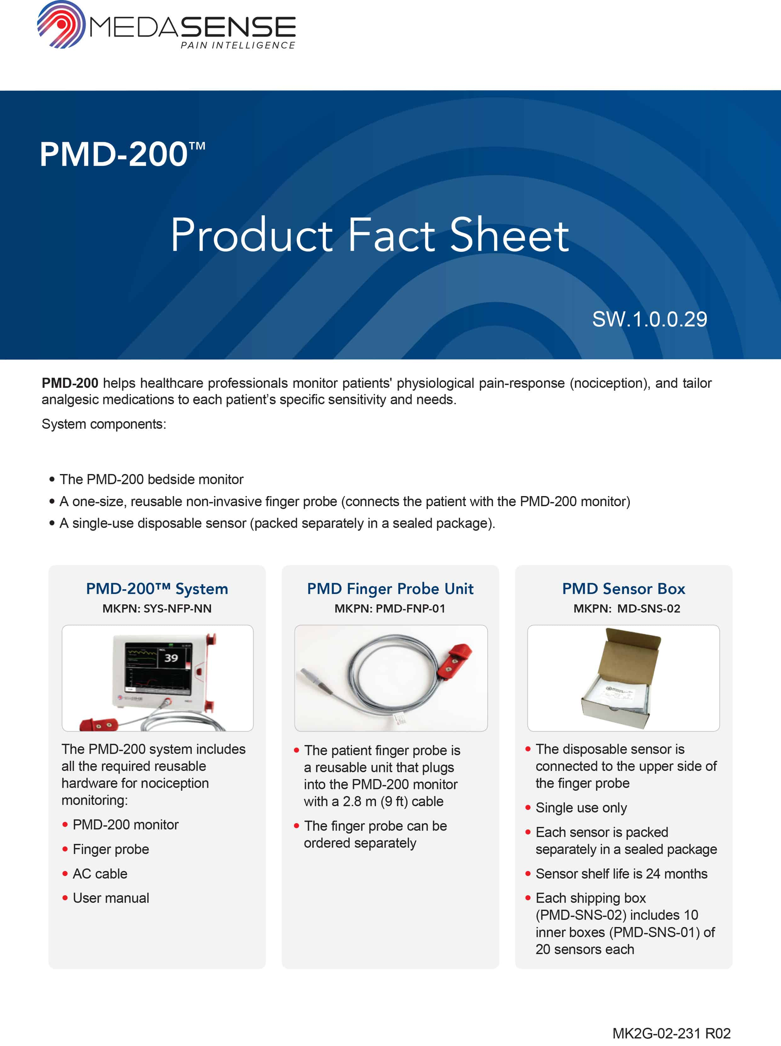 PMD-200 Medasense product fact sheet