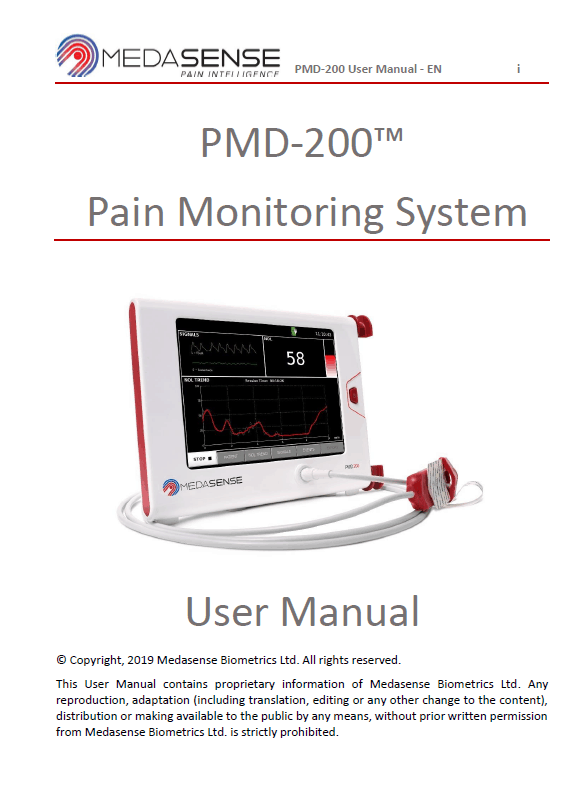 PMD-200 Pain Monitoring System User Manual